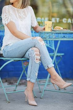 Lace And Destroyed Denim Styling by Stephanie STERJOVSKI