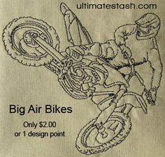 Dirt bike embroidery designs