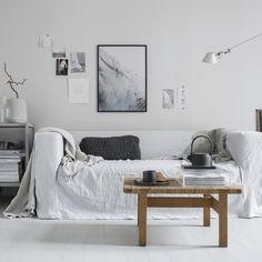 IKEA Klippan sofa w/ linen cover