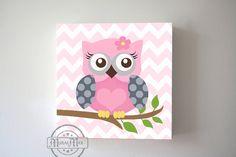 Baby Girl Nursery Decor Chevron Owl Canvas Art Pink by MuralMAX