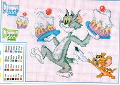 Tom e Jerry con le torte punto croce - magiedifilo.it punto croce uncinetto schemi gratis hobby creativi