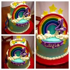 CareBear rainbow cake: chocolate cake with buttercream frosting covered in mm fondant. Fondant rainbow, slide, stars, & royal icing clouds. (Photo before the CareBear figures added.)
