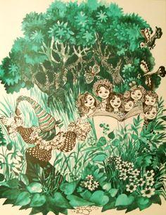 Octavia Taralunga - Abecedarul din iarba Illustrations, Photo And Video, Artwork, Books, Green, Art Work, Livros, Work Of Art, Auguste Rodin Artwork