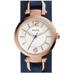 Fossil 'Georgia' Round Leather Cuff Watch, 26mm (215 BAM) ❤ liked on Polyvore featuring jewelry, watches, buckle watches, round watches, buckle jewelry, fossil watches and leather cuff wrist watch