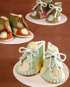Baby Bootie Pattern idea featured on M. S. show.  Crafter Dawn Huntington shows how to make felted baby booties.