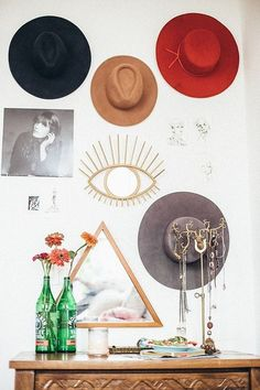 i like the idea of hanging hats on my wall …