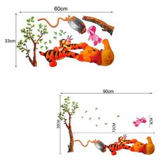 1 Piece Bear and Tiger Partner Wall Sticker Children Room Removable Wall Poster Vivid Cartoon Wallpaper Stickers Y70* JJ0040#M5