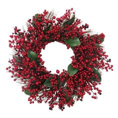 Gisela Graham Green Leaf Wreath With Two Tone Red Berries - Trouva Red Berry Wreath, Holly Wreath, Twig Wreath, Tartan Christmas, Christmas Themes, Christmas Stuff, Square Wreath, Artificial Christmas Wreaths, Red Home Decor