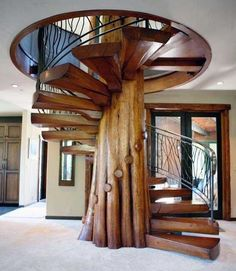 Wooden, nature-inspired stairway #architecture #design