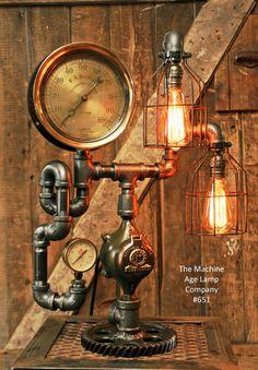 Steampunk Industrial Steam Gauge Lamp, Minneapolis MN #651