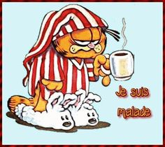 Je suis malade #malade garfield pyjama cafe grog