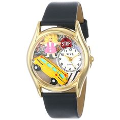 Whimsical Women's School Bus Driver Black Leather Watch