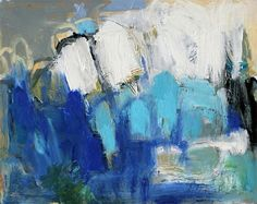 Working in blues, a series of abstract paintings in the same color harmony. © Heidi Harner.