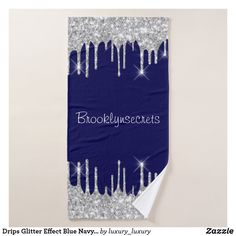 Drips Glitter Effect Blue Navy Courage Name Hand Bath Towel Gray Shower Curtains, Custom Shower Curtains, Glitter Home Decor, Bath Towels, Blue And Silver, Print Design, Create Yourself, Pattern, Fabric