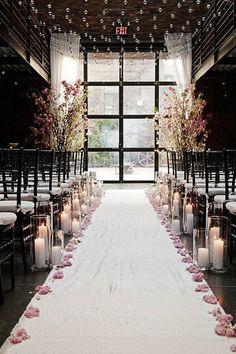 blooms and petals decorated winter ceremonies