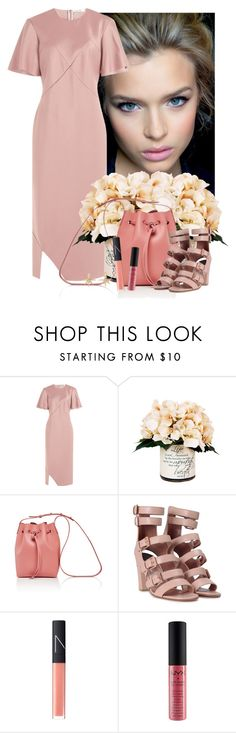 """Think Pink"" by cherieaustin ❤ liked on Polyvore featuring Jil Sander, Creative Displays, Mansur Gavriel, Laurence Dacade, NARS Cosmetics, NYX and Kenneth Jay Lane"