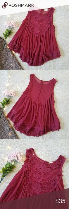 """NWOT Altar'd State 'Timeless Lace Tank' Size L New without tags. Sheer mesh material with crochet details. The top is lined so it is only see-through on the upper back, as pictured. Color is a muted dark pink. Bust: 42"""" around Length (shoulder seam to bottom hem): 29"""" Please ask for any additional measurements/pics! Please note: Everything is shipped from a home with cats! Altar'd State Tops Tank Tops"""