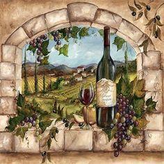 Explore Tuscan Tile Wallpaper on WallpaperSafari Tuscan Art, Tuscan Design, Tuscan Style, Image Drink, Mediterranean Home Decor, Wine Art, Tuscan Decorating, Tile Murals, Mural Painting