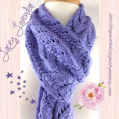 Scarf Hand Knit Long Lacy Lavender Blue Caron Simply Soft Yarn. This is a custom order and can be ordered in any color. Please contact me for current color offerings. Hand Knit Lavender blue lace scarf is extremely soft to the touch and elegant looking. Lace pattern is delicate and feminine. Caron Simply Soft acrylic yarn is extremely soft, yet durable and machine was