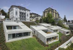 Urban villas on lake Lucerne - Lucerna, Switzerland - 2012 - Lischer Partner Architekten Planer Houses Architecture, Residential Architecture, Contemporary Architecture, Interior Architecture, Hillside Villas, Hillside House, Townhouse, Exterior, House Design