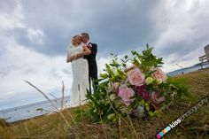 wedding flowers and bride and groom at The Green Bank Hotel