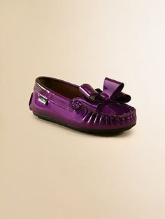 Toddler's & Little Girl's Patent Leather Bow Mocassins