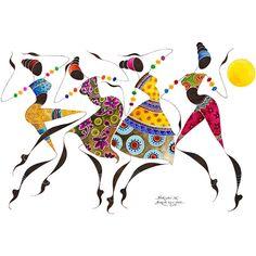 "BIKUTSI African Dancers 12""x18""(30,5cmX 45,5cm) Giclée Print African... (€48) ❤ liked on Polyvore featuring home, home decor, wall art, african wall art, giclee painting, black women paintings, black woman painting and black wall art"
