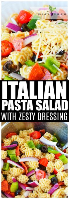 Italian Pasta Salad is the perfect cold side dish salad recipe with zesty Italian dressing de pasta con aderezo italiano Cold Side Dishes, Pasta Side Dishes, Pasta Sides, Picnic Side Dishes, Italian Dressing Pasta Salad, Italian Salad, Italian Pasta, Easy Pasta Salad, Pasta Salad Recipes