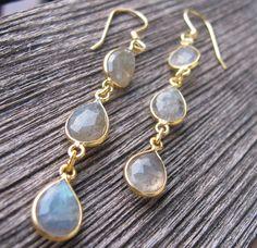 Labradorite Earrings Drop Earrings Gold Labradorite by Belesas, $39.99