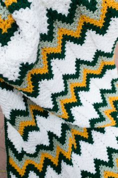 Green Bay Packers - Crocheted Blanket - Crochet Afghan - Football - NFL - Green and Gold