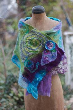 Artisan Nuno Felt 'PatchSilk' Shawl, Hand dyed, hand felted, wool & silk, 'Under The Sea', turquoise, purple, green. $175.00, via Etsy.