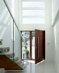 Large Front Door, Etched Glass Side Panel U0026 Windows Above