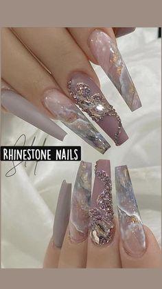 Acrylic Nail Tips, Bling Acrylic Nails, Rhinestone Nails, Coffin Nails, Winter Acrylic Nails, Jewel Nails, Acrylic Nail Designs Coffin, Winter Nails, Fabulous Nails