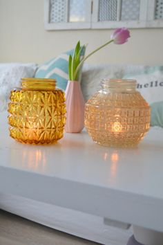 Use old glass globe lampshades as candle holders -why didn't I think of that? Glass Globe, Glass Vase, Where The Heart Is, Lampshades, Jars, Repurposed, Candle Holders, Bottles, Candles