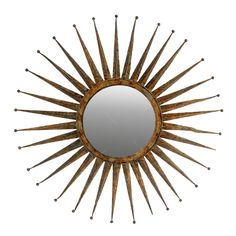 Espelho Redondo Sol Moldura em Metal - 76x76 cm