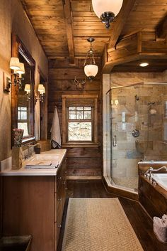 Master Bath Monday brings you this elegant bath from Log Homes of America, Inc!