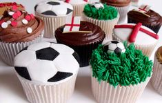 Soccer is definitely not just for the guys. so when you're planning the ultimate World Cup Party for the girls, here are ten ideas t. England Cake, England Party, Soccer Ball Cake, Football Cupcakes, Football Party Favors, Childrens Cupcakes, Party Spread, Big Cakes, Homemade Cakes