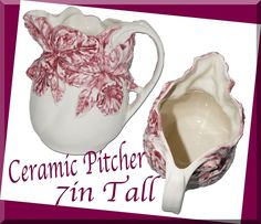 Ceramic Flowers Pitcher Decorative Vintage Water Pitcher  | eBay