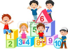 kids drawing: Happy kids with numbers blocks