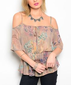 This Tan & Yellow Floral Off-Shoulder Top by Buy in America is perfect! #zulilyfinds