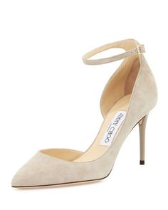 Lucy+Half-d\'Orsay+Suede+Pump,+Marble+by+Jimmy+Choo+at+Bergdorf+Goodman.