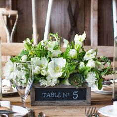 Our gray-washed wooden chalkboard boxes are a perfect way to label your tables for a wedding or event. Fill them with live plants or fresh flowers and simply write the table number on the side of the box. A great container for favors, programs, and treats, this box can be labeled for whatever it holds. In the home the boxes make a unique addition to the kitchen, office, or play room and allow for easy organization.  www.pressedcotton.com