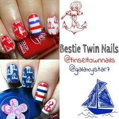Sail boat stamped nail art Nautical Nail Art, Besties, Class Ring, Boat, Stamp, Color, Dinghy, Stamps, Colour