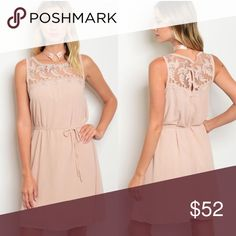 Beaded front/open laced back dress! NEW ARRIVAL!! Absolutely love the bead work and the lace. Can be dressed up or down. Very light and airy. Perfect for weddings/outings/the summer Dresses Mini