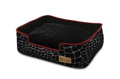 This Lounger Dog Bed by P.Y in Kalahari is the ultimate eco dog bed. In a Black Giraffe/Sangria pattern, this dog beds is chic and stylish. Elevated sides are the ideal resting place for your pup's head and create the ultimate pooch r Online Pet Supplies, Dog Supplies, Black Lounge, Giraffe Print, Black Bedding, Pet Beds, Pet Accessories, Large Dogs, Your Pet