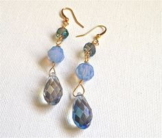 blue crystal drop handmade free shipping earrings by fatash1