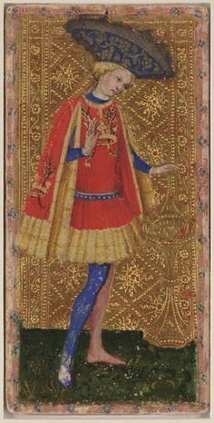 """Tarot Cary-Yale (o Tarot Visconti-Modrone). Son las cartas de tarot más antiguas que sobreviven La fecha de creacón se discute entre los años 1428, 1441 y 1468. Se presume que fue pintado por Bonifacio Bembo para los Visconti-Sforza, La original se conserva en Yale University Library"""" (Estados Unidos de América)."""