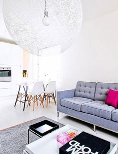 Black White Grey and Pink living room with a Random Light from #Moooi