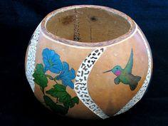 Summer Breeze Hummingbird and Morning Glory Gourd Art Bowl