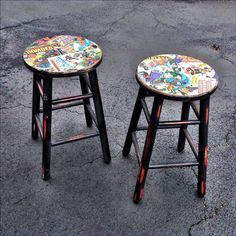 Upcycled Comic Book Bar Stools Featuring Marvel and DC Comics Batman Wonder Woman Superman Xmen Spiderman Invaders Captain America Upcycled Furniture, Furniture Projects, Kids Furniture, Nerd Room, Gamer Room, Comic Book Crafts, Comic Books, Book Bar, Batman Wonder Woman